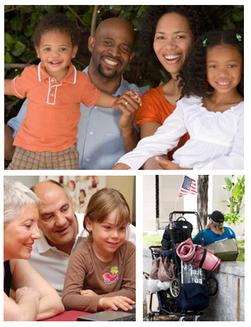 Collage of an African-American family, a little girl using a computer with her grandparents' help, and a homeless person.